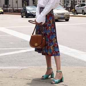 LITTLE MOON Blue Floral Olyra Pleated Skirt